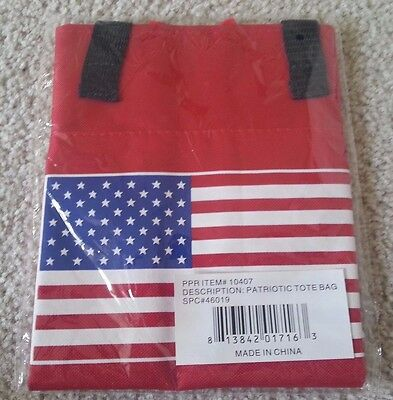 Patriotic Tote Bag July 4th US Flag United States Red White Blue BRAND NEW #e