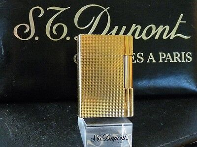 S T Dupont Line 2 Gold Plated Gatsby Lighter  - Very Good Used Condition