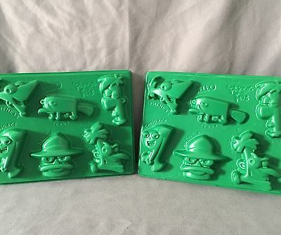 DISNEY Phineas And Ferb Jell-O Mold Set Of 2 Chocolate Birthday Party