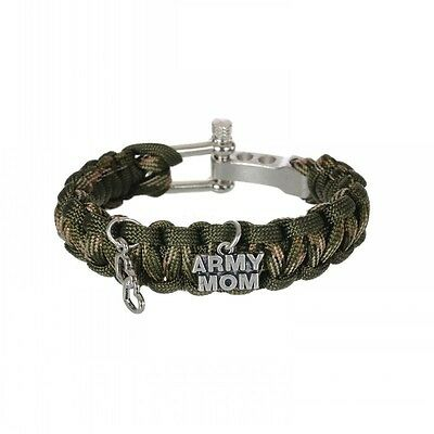 Army Mom Heart Charm Paracord Bracelet Survival Military Veteran Camo 6PCS/lot