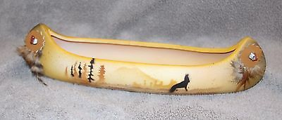 Native American Artisan Craft - Canoe with Hand Painted Design Decorative piece