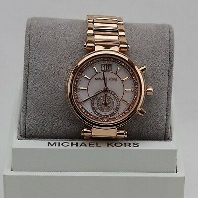 New Authentic Michael Kors Sawyer Rose Gold Chronograph Women's Mk6282 Watch