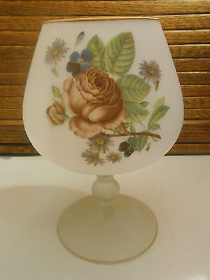Large Frosted Glass Gold Trimmed Snifter Decorated with Flowers