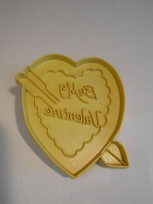 Vintage Stanley Home Products  VALENTINE HEART Yellow Plastic Cookie Cutter