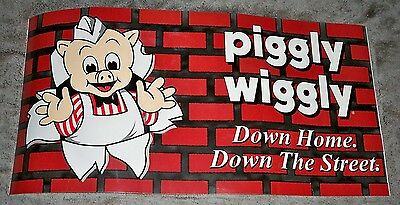 Lot Of 2 Nice Piggly Wiggly Store Signs 1 Foot X 2 Feet Pig & Brick Wall Grocery