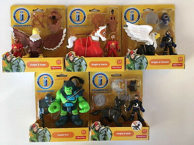5 Fisher Price Imaginext, Knight & Horse, Wolf, Eagle, Phoenix & Castle Orc, NIP