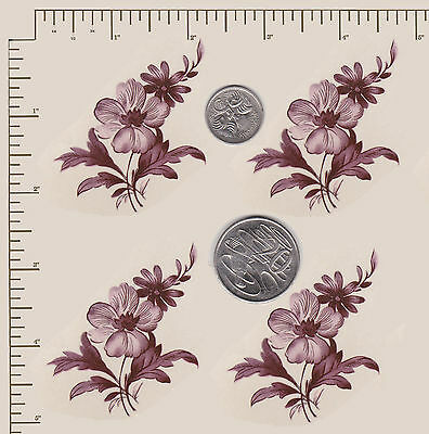 "4 x Waterslide ceramic decals Burgundy flower spray Approx 2 3/4"" x 1 3/4"" PD60a"