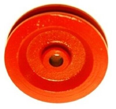 """10  Red Painted Cast Iron Wire Rope Cable Pulleys 3-1/2"""" Diameter"""
