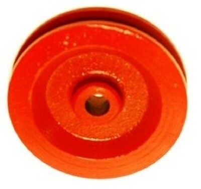 """2  Red Painted Cast Iron Wire Rope Cable Pulleys 3-1/2"""" Diameter"""