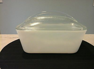 Vintage Westing House Refridgerator, Loaf Dish Milk Glass With Clear Dome Lid