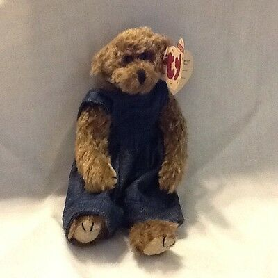 1993 Collectible TY PLUSH Wee Willie Bear Dressed In Denim Creased Paper Tag