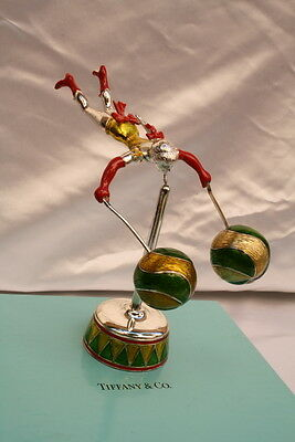 Magnificent Brand New Tiffany Enameled Sterling Silver Acrobat Miniature W Box