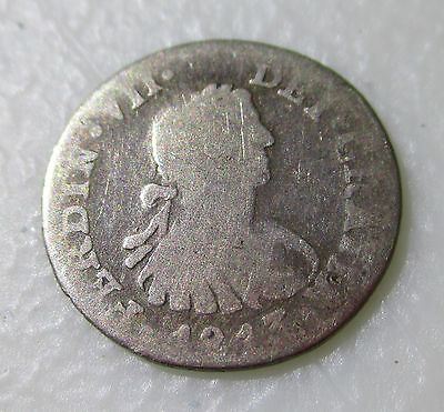 Mexico silver 1/2 Real 1813 JJ MEXICO CITY COLONIAL MEXICO COIN - Lot AB47
