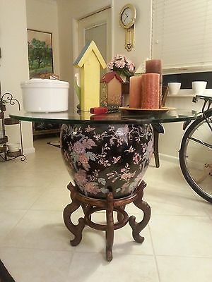 Chinese Table/Stand  Wood-Carved Exquisite Multicolored Porceline, 2 Glass Tops