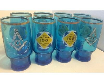 Set Of 8 1875-1975 100 Years Of Masonry Grand Lodge Of Manitoba Drinking Glasses