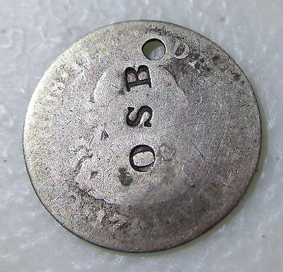 """1700's Silver Mexico 1/2 Real Counterstamp Coin """"OSB"""" - Lot AB46"""