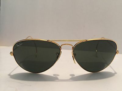 Vintage B+L Ray Ban Aviator Sunglasses Gold/Green Cable Wrap Arms 58mm. #1