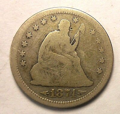 1874 s Seated Quarter Rare Date Nice FREE SHIPPING