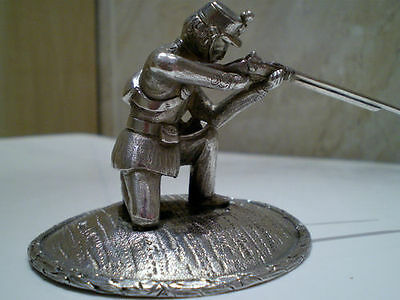 Antique Sterling Silver 'Statuette of Rifleman' by Augustus George Piesse c1860