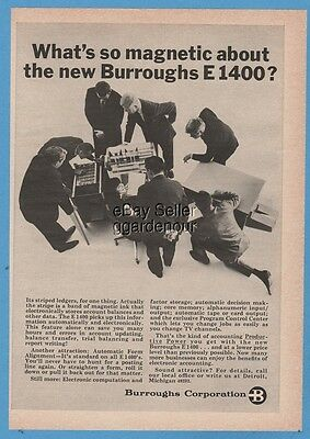 1966 Burroughs E 1400 electronic Computer accounting machine Ledger Ad
