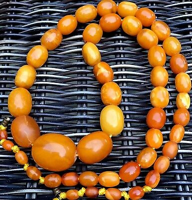 Antique Heavy Natural Baltic Amber Tiger Butterscotch Beads Necklace 琥珀項鍊 41g