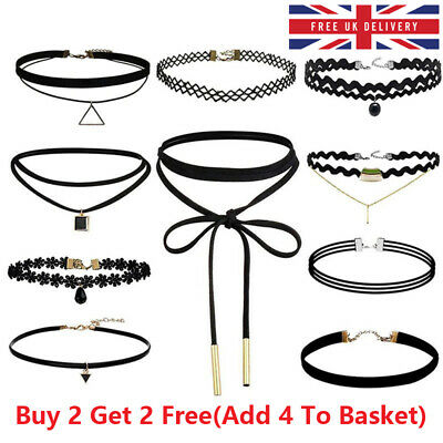 Choker Necklace Set Stretch Velvet Classic Gothic Tattoo Lace Retro Black UK