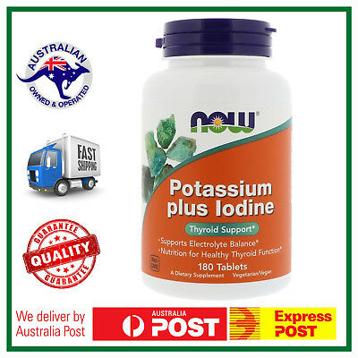 Potassium plus Iodine 180 Tablets by NOW Foods - Thyroid Support Mineral Balance