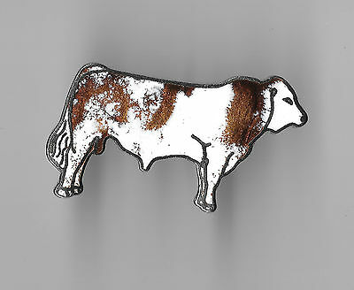 Vintage Simmental Cow Cattle b2 old cloisonne pin