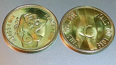 """Lot of 2 - """"Heads I Win - Tails You Lose"""" Nude Flipping Coins. (.85 each) A12"""