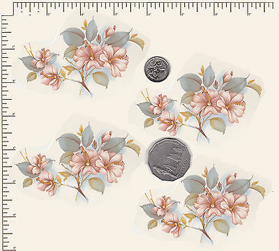 "4 x Waterslide ceramic decals Decoupage Roses Approx 3 1/2"" x 2 1/4""  PD852"