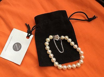Zenzhu Freshwater Pearl Bracelet with Sterling Silver Rose Clasp & safety chain