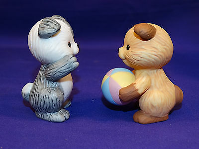 "1992 Avon Best Buddies ""puppies Playing Ball"" Porcelain Figurines So Cute"