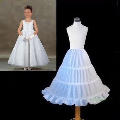 Girls Children White Petticoat Crinoline 3 Hoop Underskirt Ruffle Edge Dress