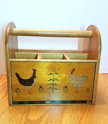 Hen Rooster Wooden Silverware Caddy Kitchen Desk Collectible 1997 Kamenstein