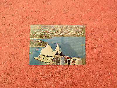 old postcard of sydney opera house with north shore in background