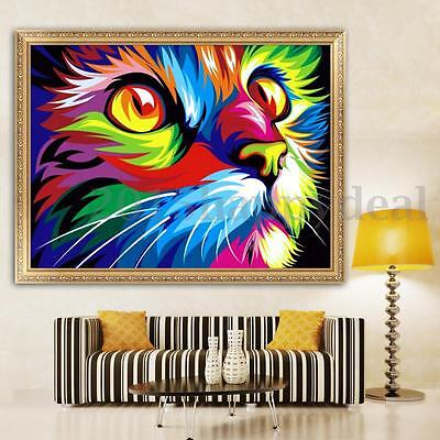 5D DIY Diamond Painting Colorful Cat Embroidery Cross Stitch Wall Hanging Decor