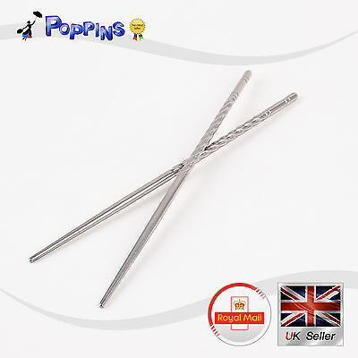 NEW 1 Pair Chinese Stylish Non-slip Stainless Steel Chopsticks Chop Sticks