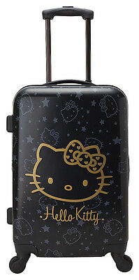 Sanrio Hello Kitty Wink Gold Rolling Travel Luggage Suitcase 21.75""