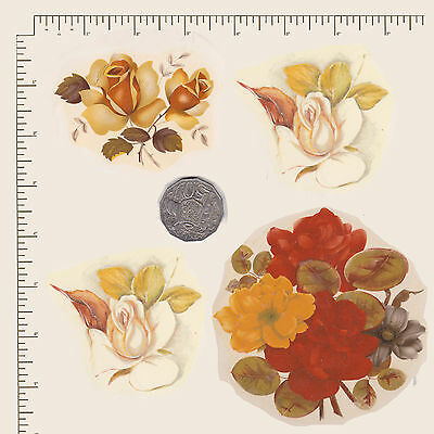 4 x Waterslide ceramic decals Decoupage Assorted yellow flowers Roses PD721