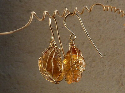 boucles d'oreilles en or 18 ct, citrine