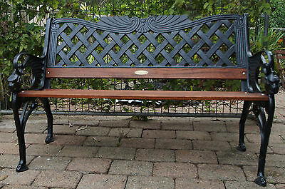 RARE HEAVY CAST IRON GARDEN BENCH SEAT with new FORREST REDS TIMBER
