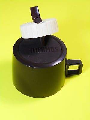 Vintage THERMOS Brand Replacement Pour Stopper 722, Wide CUP CAP, Brown/Tan,RARE