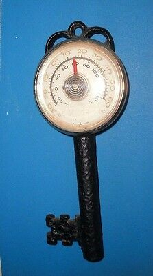 """VINTAGE METAL THERMOMETER KEY - Made In England Working Retro 5.5"""" 14cm Hanging"""