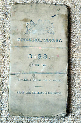 Ordnance Survey 1-inch Map of Diss RNS Small Sheet 175 on Cloth 1906