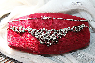 Gorgeous Art Deco Vintage Sterling Silver Floral Marcasite Necklace