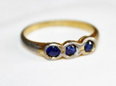 Edwardian Vintage White Gold Filled 3 Stone Deep Blue Sapphire Ring Sz 5.5