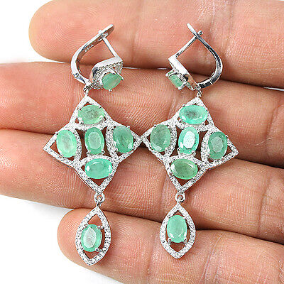 Sterling Silver 925 Large Genuine Natural Oval Green Emerald Earrings