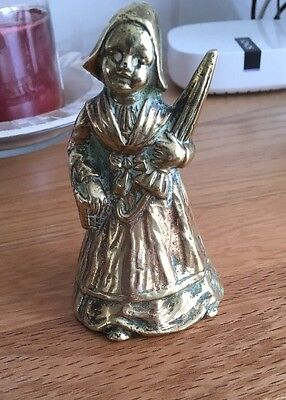 Vintage Brass Lady Bell With Umbrella Rare One For The Collection