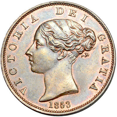 Victoria.  Halfpenny. 1853. .   About Uncirculated..  7041.