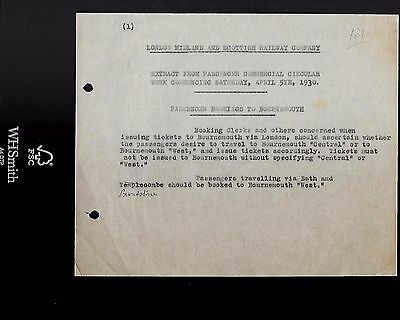 1930  Lms Railway Memo Passenger Booking To Bournemouth